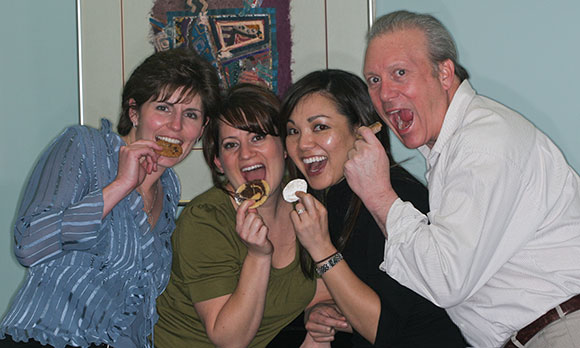 Eating thank-you cookies